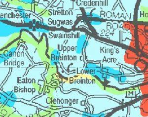 Map of soil types around Breinton