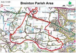 Map of the Parish of Breinton OS PSMA Licence No. 0100054898